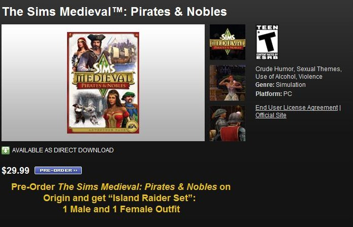 The Sims Medieval Pirates and Nobles expansion