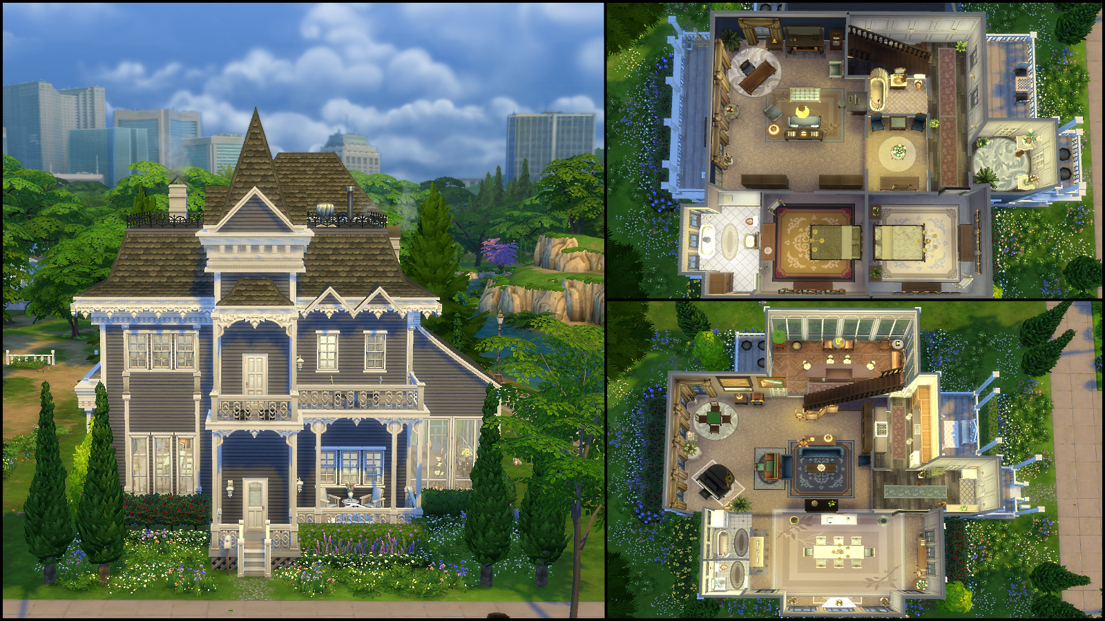 Victorian house plan sims 4 for Sims 4 house plans