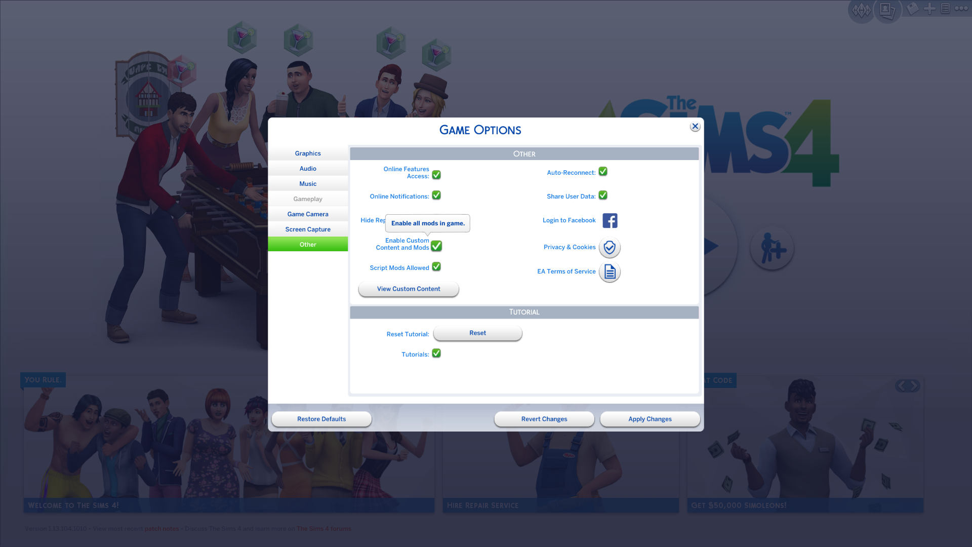 The Sims 4: Mods and Custom Content Auto-Disabled With New