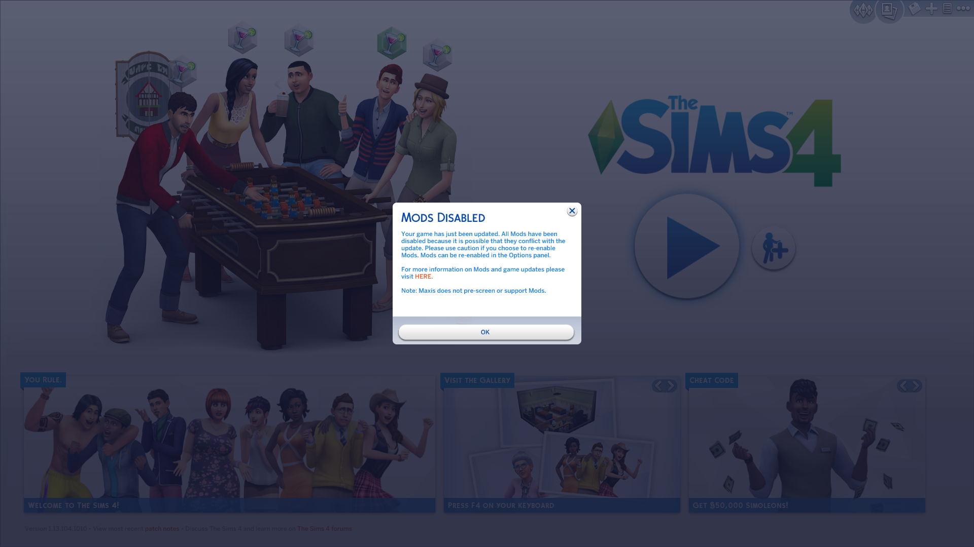 The Sims 4: Mods and Custom Content Auto-Disabled With New Game