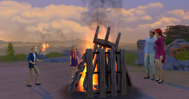 One group is pictured here, BURNING the possessions of their rivals!