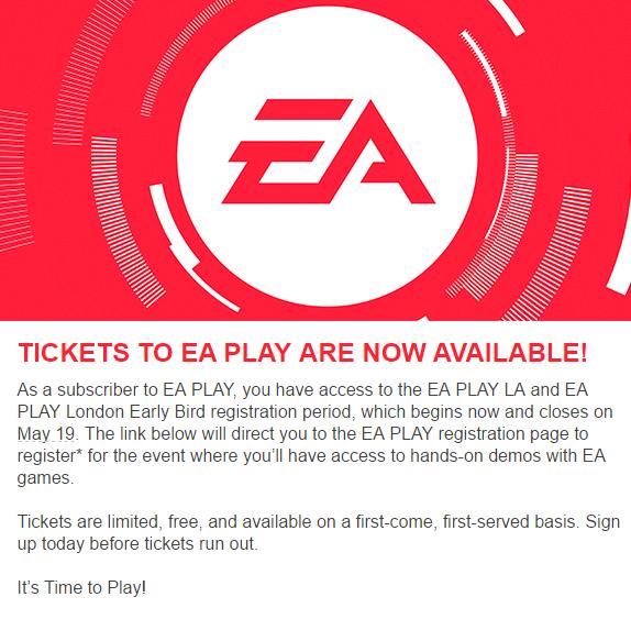 EA Play Tickets