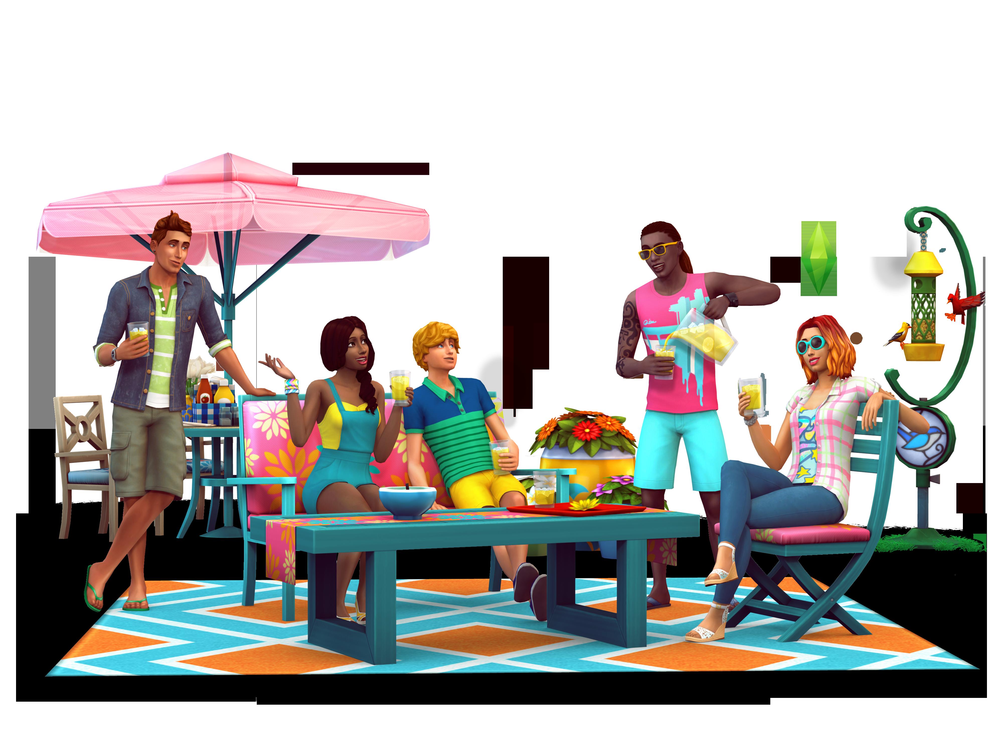 The Sims 4 Backyard Stuff Official Box Art Logo And
