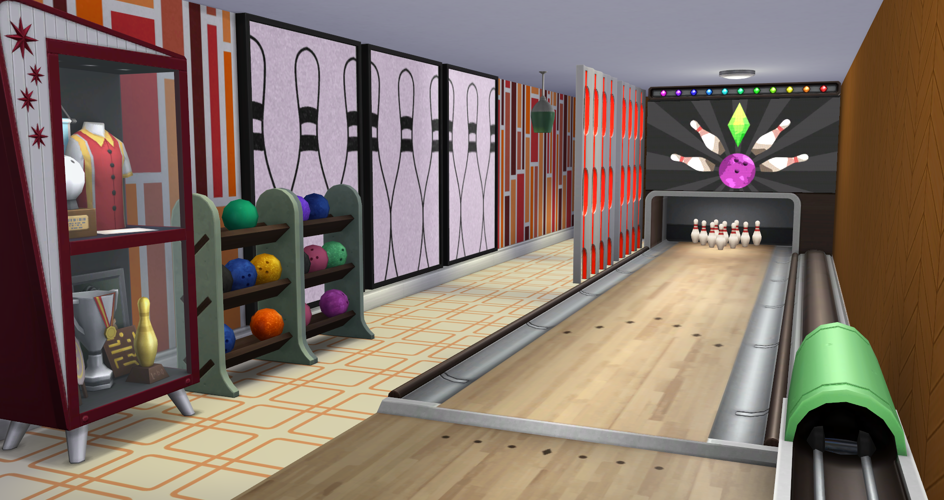 Own Bowling Alley From Scratch There Is Plenty Of Decor Available With This To Compliment A Build Additionally Are Two Ball Racks
