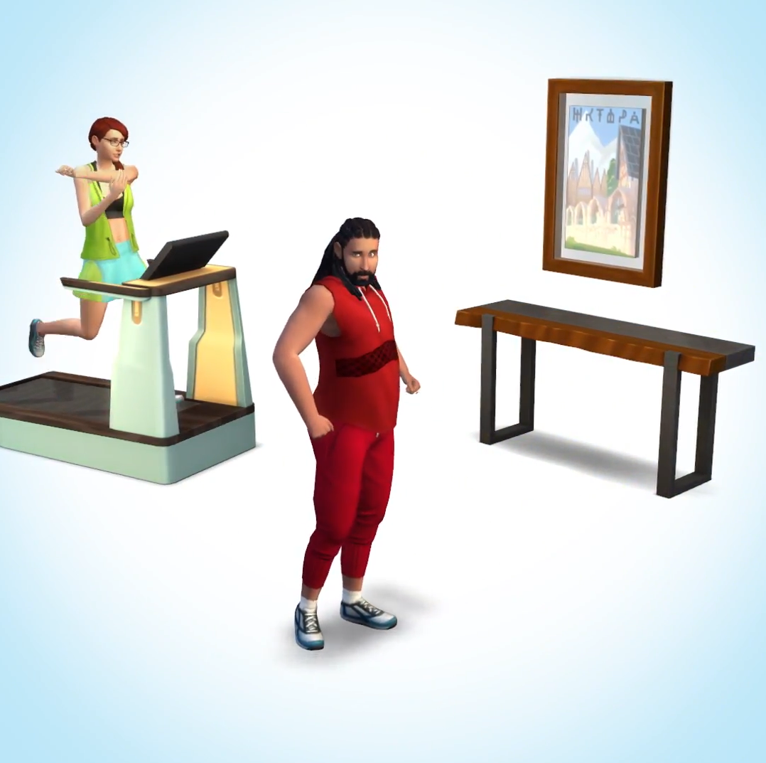 """The images below depict the """"before"""" and """"after"""" setting of Sims who were upgraded to the stuff pack, along with the official icon."""
