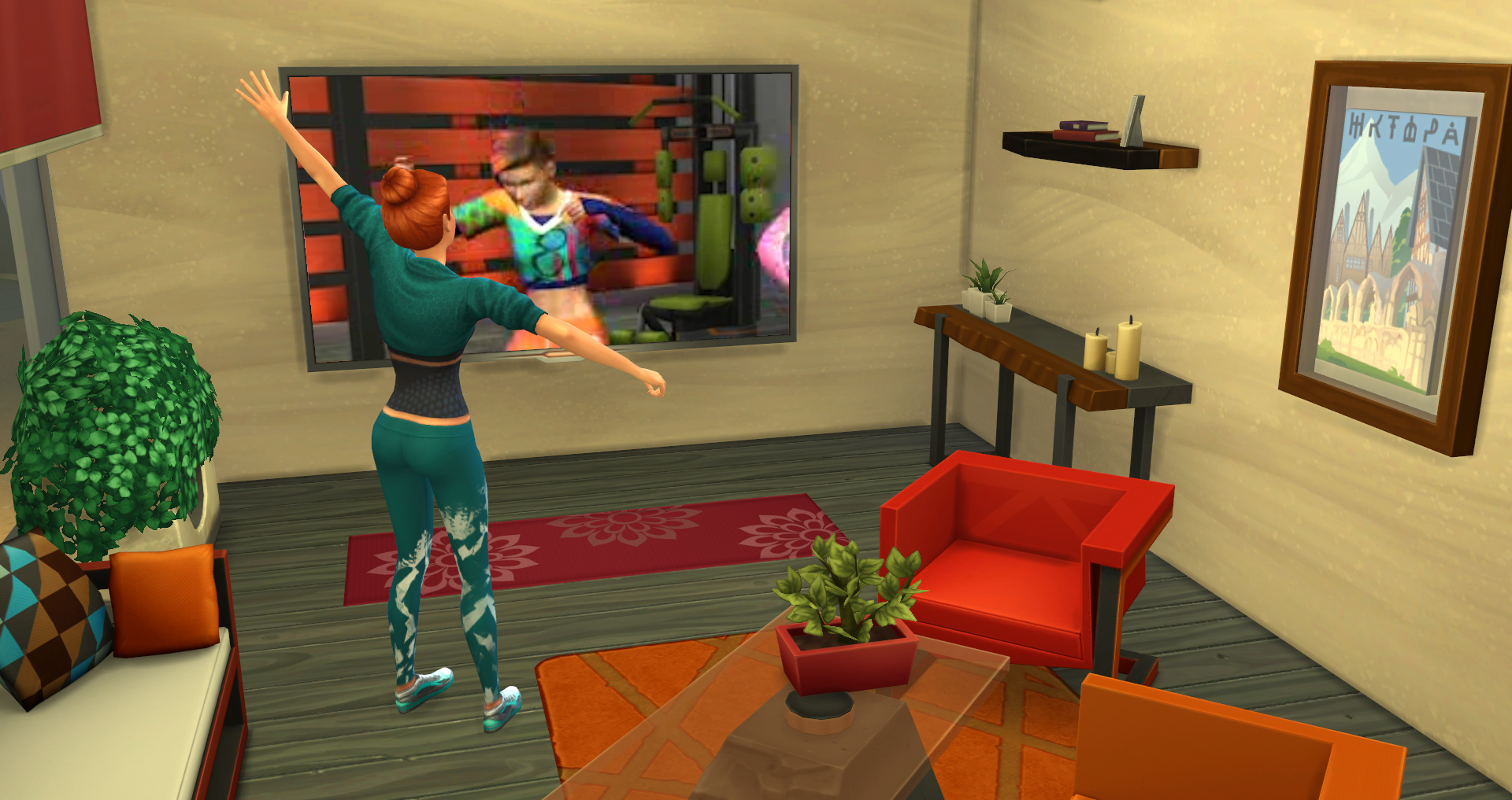 Sims will gain fitness skill while working out to custom workout videos on the tv the following workout options are available plumboomba dance video and