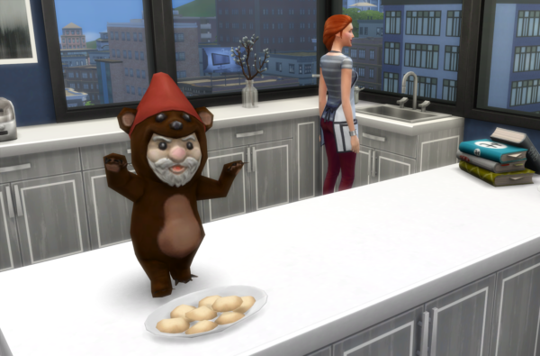 gnome in a bear suit is stealing cookies that Sim has been baking