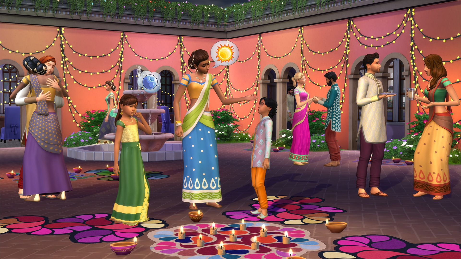 Sims 4 Holiday free patch 'Diwali' comes out Oct 17, 2017. TS4_0255_EF_DIWALI_SCREEN_01_001_1080