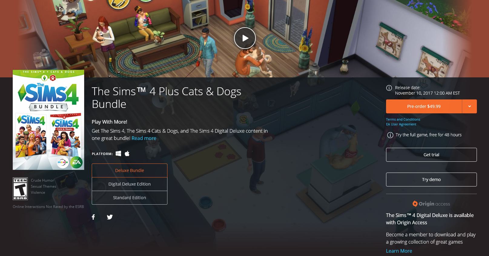 Pre-Order The Sims 4 Cats & Dogs on Origin!