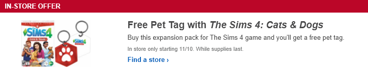 Sims  Promo Code November  Cats And Dogs
