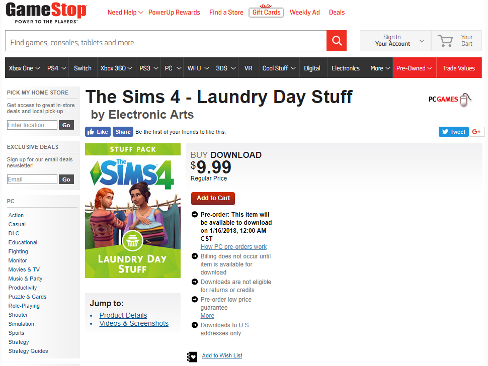 pre order the sims 4 laundry day stuff at gamestop simsvip