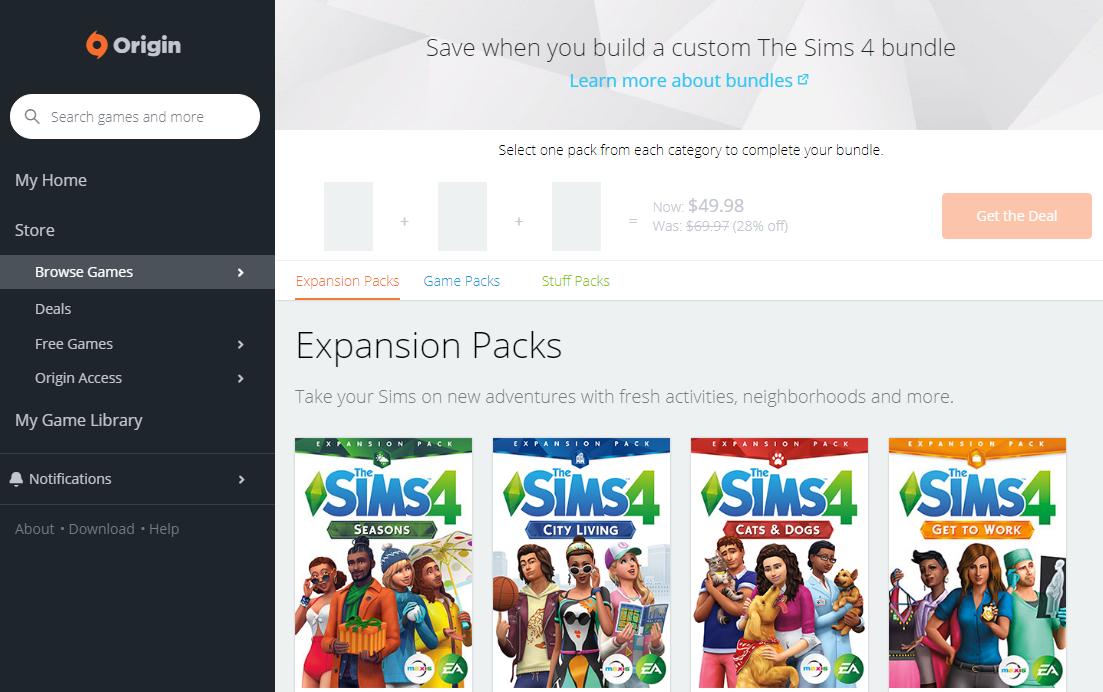 The Sims 4: Seasons Expansion Part of Origin's Bundle Deal