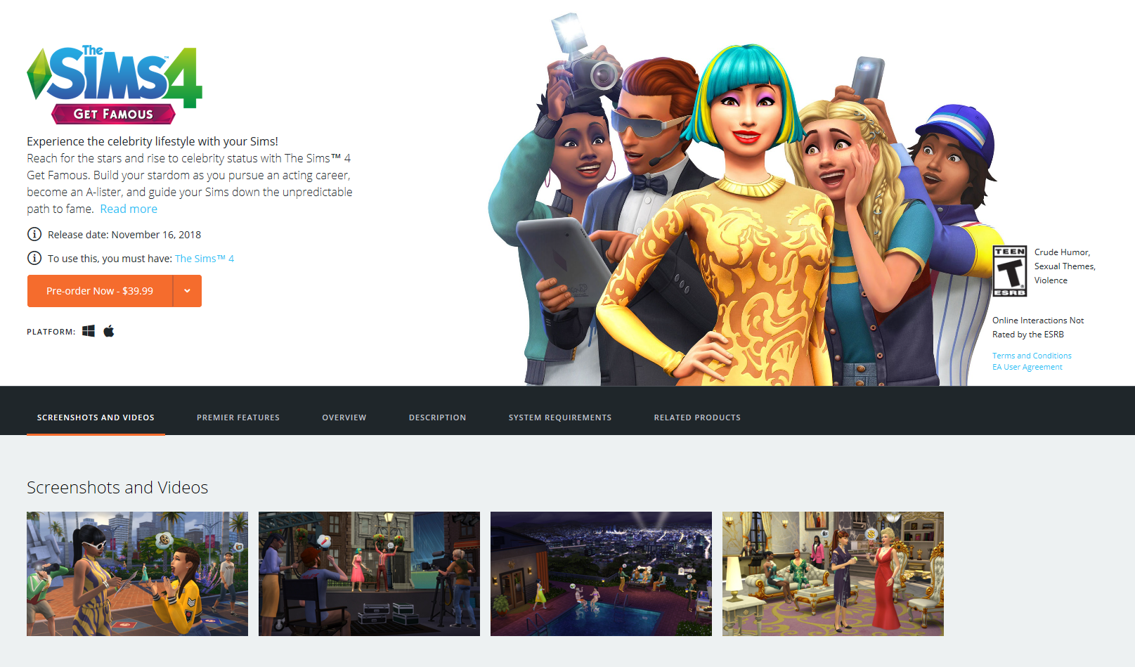 Origin: Pre-Order The Sims 4 Get Famous Expansion Pack | SimsVIP