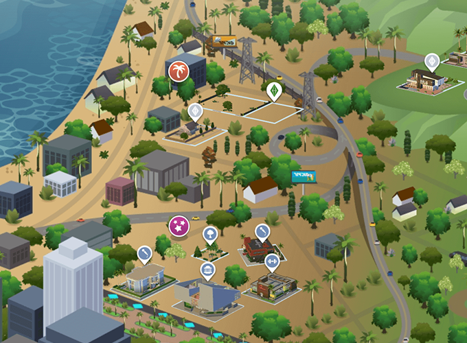 The Sims 4 Get Famous Del Sol Valley World Map Lot Sizes And Icon