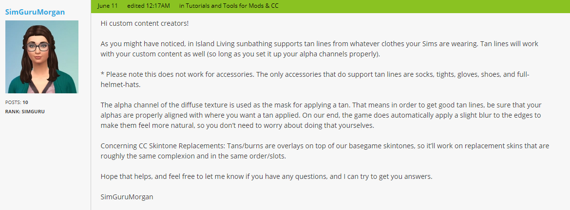 The Sims 4 Island Living: Updating Custom Content for Tan Lines