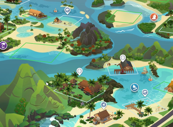 The Sims 4 Island Living: World Map, Icon, and Lot Sizes | SimsVIP